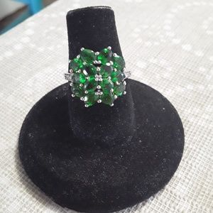 Sterling Silver Emerald Stones Ring
